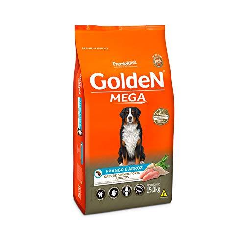 Ração Golden Mega para Cães Adultos de Raças Grandes Sabor Frango e Arroz, 15kg Premier Pet Para Todas Grande Adulto,