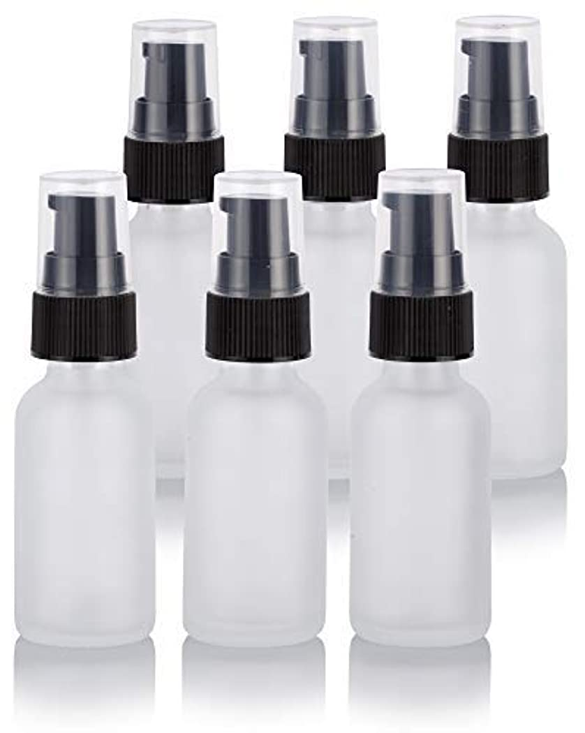 シンボル試験達成1 oz Frosted Clear Glass Boston Round Treatment Pump Bottle (6 Pack) + Funnel for Cosmetics, serums, Essential Oils, Aromatherapy, Food Grade, bpa Free [並行輸入品]