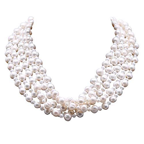 JYX Perlenkette Weiß 5-10mm Weiß Runde Süßwasserperlenkette 21