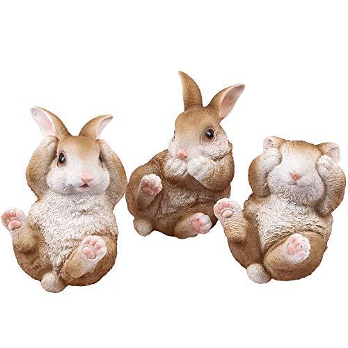 Victor's Workshop Set di 3 Coniglietto di Pasqua in Poliresina 11x7cm Decorazione di Pasqua Figurina e Statuetta di Conigli Pasquali Decorazione di Primaverile per Pasqua Casa Giardino