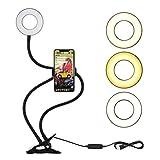 LEDGLE Selfie Ring Light con Soporte para Teléfono Móvil para LiveStream/Maquillaje/Youtube/Facebook, 3 Modos de Luz y 10 Niveles de Brillo con Brazos Largos Flexibles para iPhone y Android
