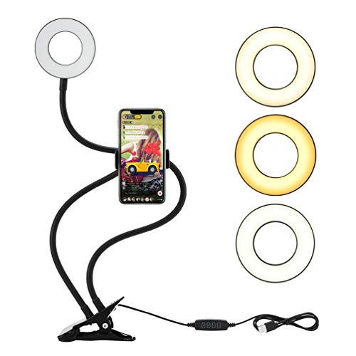 LEDGLE Led Ringlicht, Selfie Licht mit Handyhalter, Ring Light mit 3 Leuchtmodi und 10 Helligkeiten Stufen für Live Stream, YouTube, Live Makeup, Facebook, Samsung, Tablet, Laptop