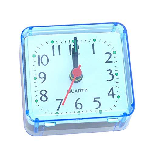 Creativo Lindo Pequeño Cuadrado Cristal Despertador Reloj Despertador Dormitorio Mesita De Noche Reloj Electrónico De Oficina - Azul