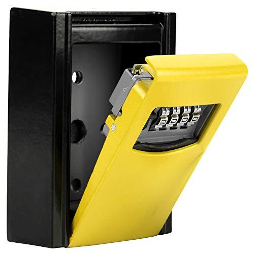 Bediffer Caja de almacenamiento de llaves, caja de bloqueo de llave, código de combinación de seguridad de combinación de código de 4 dígitos con para tarjetas de casa (amarillo)