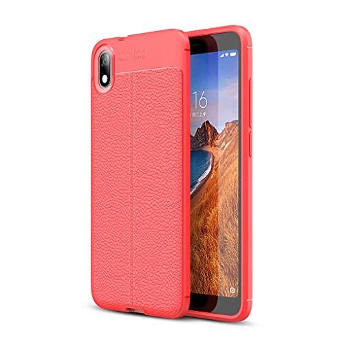 NiaCoCo Kompatibel mit Xiaomi Redmi 7A Hülle Hauttextur Weiches TPU Dünn Handyhülle Rutschfester Anti-Fingerabdruck Erdbebenresistenz Anti-Fall Handykasten+1*(Gratis Handyhalter)-Rot