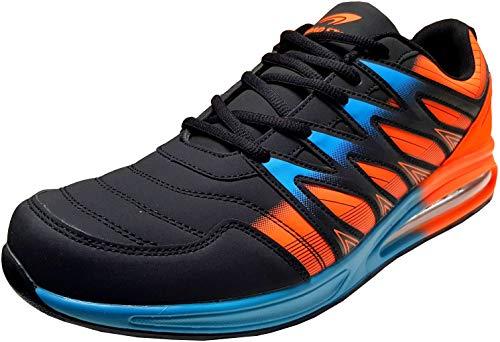 gibra® Herren Sneaker Sportschuhe Turnschuhe Übergröße, schwarz/Neonorange/blau, Art. 6547, Gr. 48