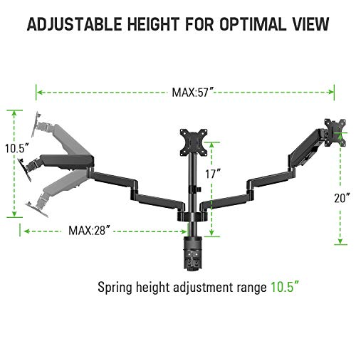 MOUNTUP Triple Monitor Stand Mount - 3 Monitor Desk Mount for Computer Screens Up to 27 inch, Triple Monitor Arm with Gas Spring, Heavy Duty Monitor Stand, Each Arm Holds Up to 17.6 lbs, MU0006