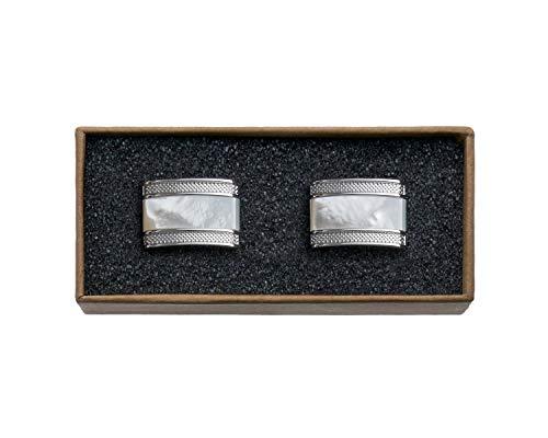 VALDERO® Herren Manschettenknöpfe - Men's Essentials in Box (Blau Perlmutt Schwarz) (1 Paar - Silbernes Metall, Perlmutt Stein)