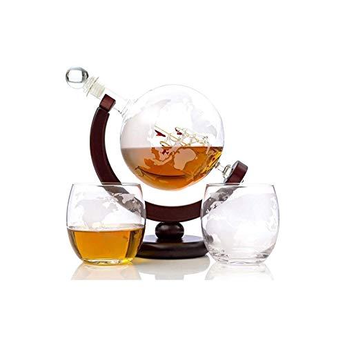 Decantador de vino de cristal hecho a mano, CARAFE WHISKY GLOBE Decanter Set Eched World Globe Decanter para vino tinto, licor, Borbón, Vodka, con 2 gafas, accesorios para bares para hombres para homb