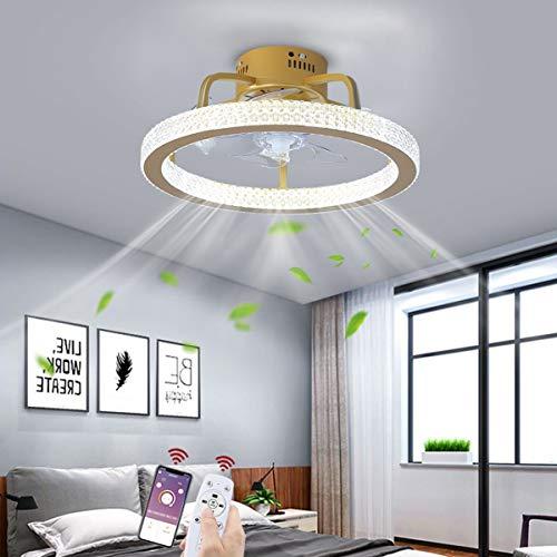 OMGPFR Ø50CM Ventilador de Techo con lámpara App y Control Remoto, LED 48W Atenuación Lámpara de Techo, Regulable Lámparas de Techo con Ventilador por Sala Cuarto Oficina Cocina Encendiendo,Oro