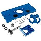 miuline Plantilla de Agujero de Bolsillo Taladro de 35 mm Juego de Guías para Bisagras Plantilla de Perforación de Bisagra (Azul)
