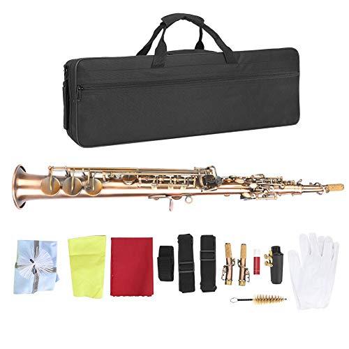 【𝐑𝐞𝐠𝐚𝐥𝐨 𝐝𝐞 𝐍𝐚𝒗𝐢𝐝𝐚𝐝】 Saxofón Soprano, Instrumento de Viento de Madera de saxofón Recto Plano Profesional de Cobre Rojo Antiguo B con Boquilla Carekit Correa de Transporte para Estudiante