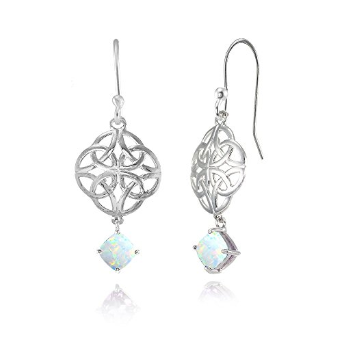 Sterling Silver Simulated White Opal 4x4mm Cushion-Cut Dangle Celtic Open Knot Drop Earrings