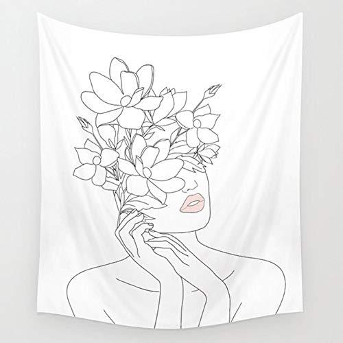 KHKJ Línea Simple niña Flor Tapiz Colgante de Pared Tarjeta de Tarot tapices Tela de Pared Alfombra Cubierta de Cama habitación Dormitorio decoración A11 150x130cm