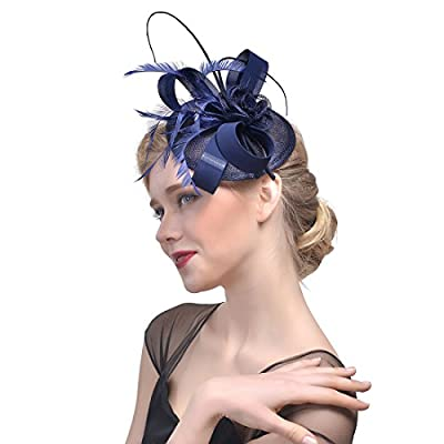 Zongsi Fascinators Hat for Women and Girls Cocktail Tea Wedding Party Headwear Flower Mesh Feathers Hairpin Hat Clip