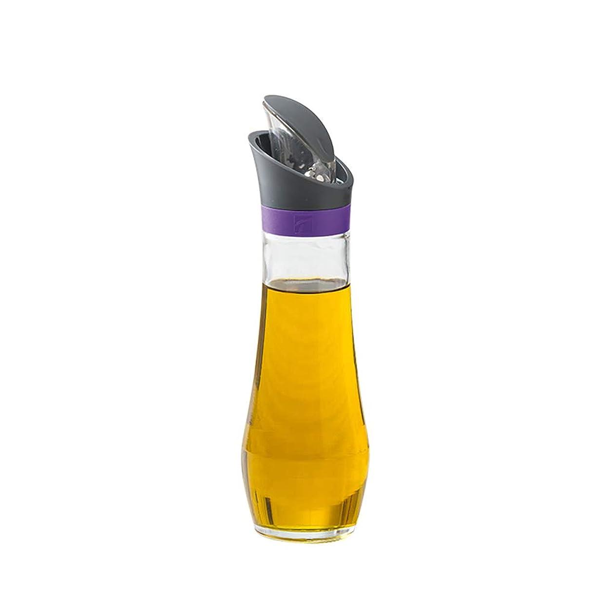 認識ささいな南極「生活のカタチ」 自動フタ開き式 オイル差し 油さし 透明 調味サーバー 醤油差し 調味料入れ 調味料ボトル 3色選択 (パープル, 2点セット)