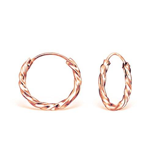 DTPSilver - Pendientes de aro trenzado chapados en oro rosa y plata de ley 925 - Grosor 2 mm - Diámetro 16 mm