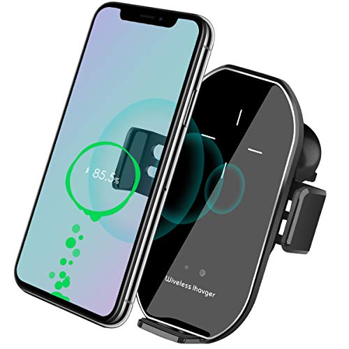 Wireless Car Charger Vent Mount, Automatic Clamping 10W/7.5W Fast Charging Air Vent Car Compatible for iPhone 11/11 Pro/11 Pro Max/Xs MAX/XS/XR/X/8/8+,Samsung S10/S10+/S9/S9+/S8/ V30 (Silver)