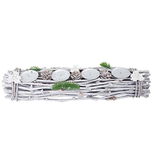 Mendler Adventskranz länglich, Weihnachtsdeko Adventsgesteck, Holz 60x16x9cm weiß-grau ~ ohne Kerzen