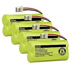 iMah BT166342/BT266342 2.4V 750mAh Ni-MH Battery also Compatible with VTech BT162342 BT183342 CS6114 CS6429 CS6719 AT&T EL52100 EL51203 DECT 6.0 Cordless Phone VTech DM221 DM221-2 Baby Monitor, 4-Pack