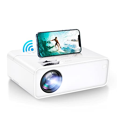 """VIMGO Mini WiFi Projector, 7800Lux Portable Projector Full HD 1080P Supported for Outdoor Movies, 200"""" Display Synchronized Smartphone Screen Compatible with TV Stick/USB/HDMI/VGA/PS5/VGA(UNO V1)"""