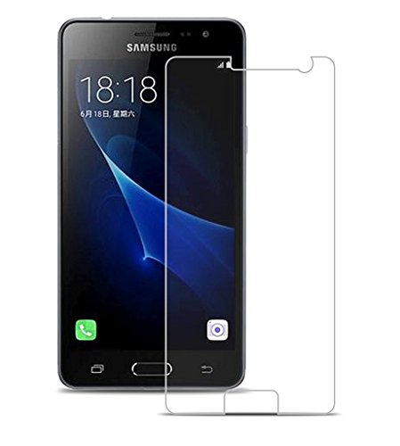 Mobizworld™ ultra clear, 9H hardness,2.5D Curved, shatterproof, anti explosion, scratch free, bubble free, oil resistant, reduced fingerprint tempered glass screen protector glass for Samsung Galaxy J3 Pro