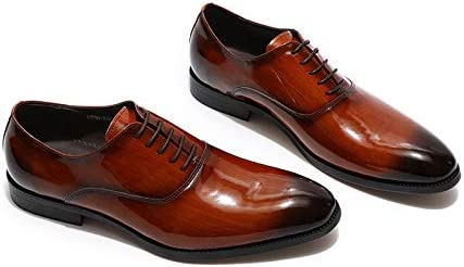 Mens Oxford Patent Leather Lace Up Shoes Banquet Wedding Footwear (7, Brownish Red)