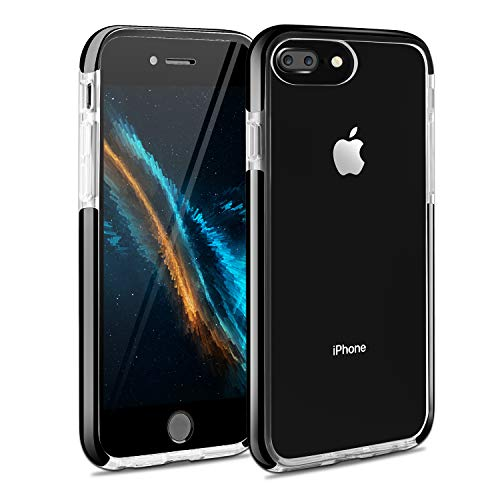 iPhone 7 Plus Case iPhone 8 Plus Case iPhone 6 Plus Case iPhone 6sPlus Case, Crystal Clear Anti-Scratch Anti-Slippery Transparent Shockproof Cover Bumper Protective Case (Black)