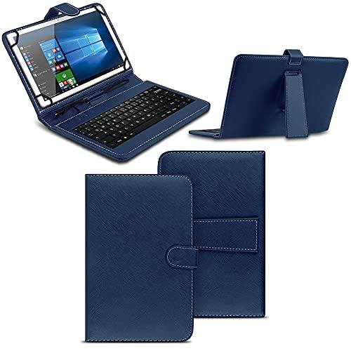 NAmobile Tastatur Schutzhülle kompatibel für Wortmann Terra Pad 1006 Tasche Keyboard USB Hülle QWERTZ Standfunktion Universal Cover, Farben:Blau