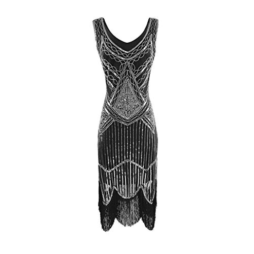 SANFASHION Damen Kleid Retro 1920s Stil Flapper Kleider voller Pailletten Runder Ausschnitt Great...