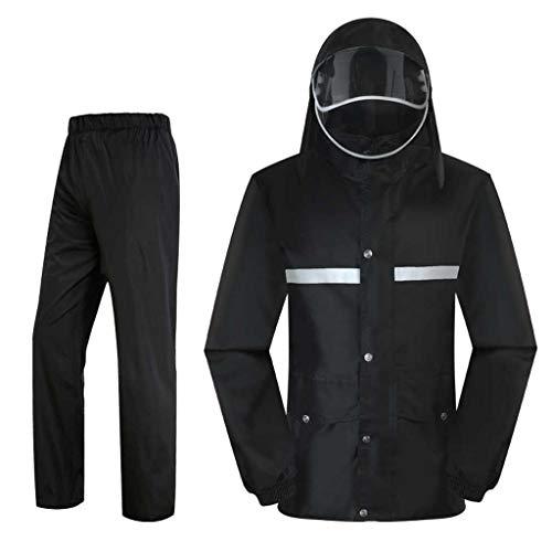 LZY Impermeable- Pantalones de la Lluvia del Impermeable, Prenda Impermeable Doble Desmontable Gruesa del Sombrero de la batería del Montar a Caballo Adulto (Color : Negro, Tamaño : XXL)