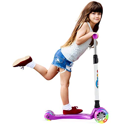 BELEEV Kinderscooter Dreirad für Kinder Kleinkinder Mädchen und Jungen, kinderroller von 3 bis 12 Jahren, 3 LED Räder Roller Scooter mit 4 Höhenverstellbare und Verstellbare Lenker(Violett)