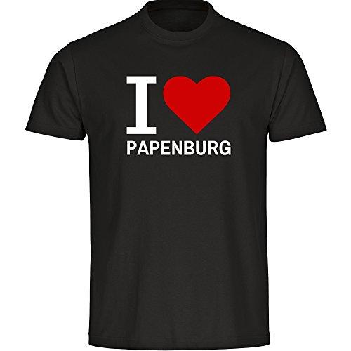 Herren T-Shirt Classic I Love Papenburg - schwarz - Größe S bis 5XL, Größe:XXL