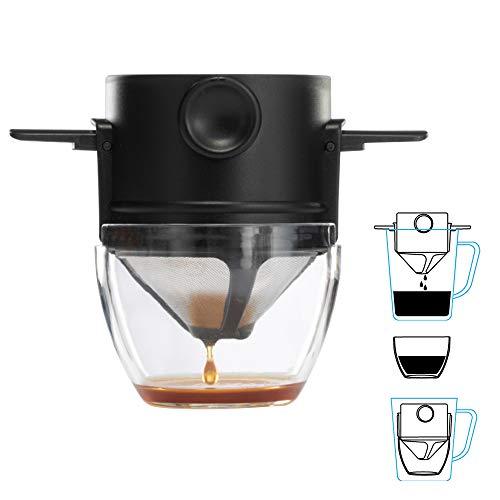 XWU Despeje sobre filtro de café, gotejador de café em cone de aço inoxidável reutilizável, filtro de coador de chá desmontável sem papel perfeito para filtro de fabricantes de café, canecas para infu
