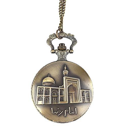 KEYREN zarte muslimische taschenuhr islamische Quarz Klassische Uhr kaaba moschee taschenuhr mit Kette und Exquisite prägung(清真寺)