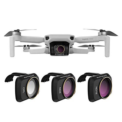 GLOBACT Lens Filter Set CPL ND8 ND16 für DJI Mavic Mini/Mini 2 Drohne 3-teiliges Objektivfilterset Mehrfach beschichtete Filter Kombiniertes Kameraobjektiv