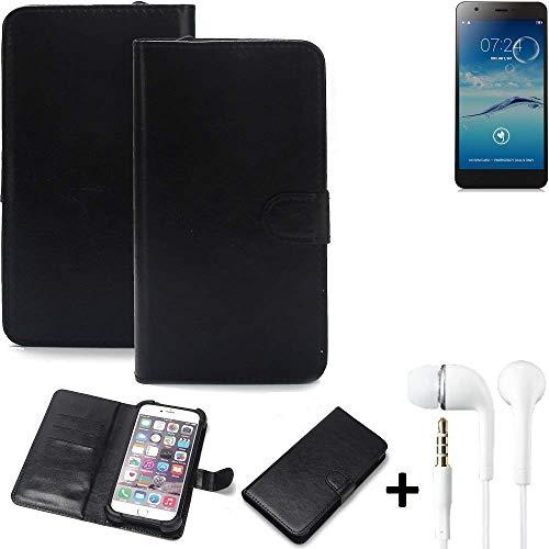 K-S-Trade® Wallet Case Handy Hülle Für Jiayu S3+ Schutz Hülle Smartphone Flip Cover Flipstyle Tasche Schutzhülle Flipcover Slim Bumper Schwarz + In Ear Headphones