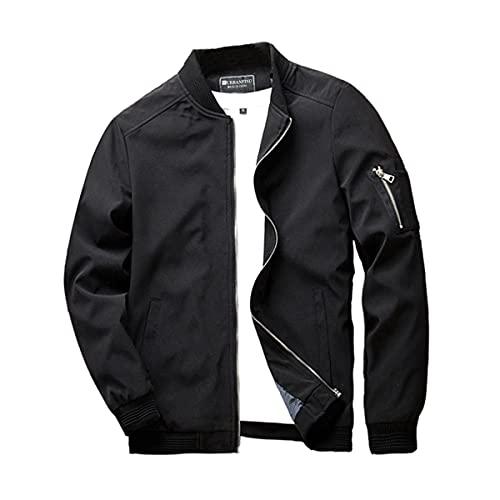 URBANFIND Men's Slim Fit Lightweight Sportswear Jacket Casual Bomber Jacket US L Black