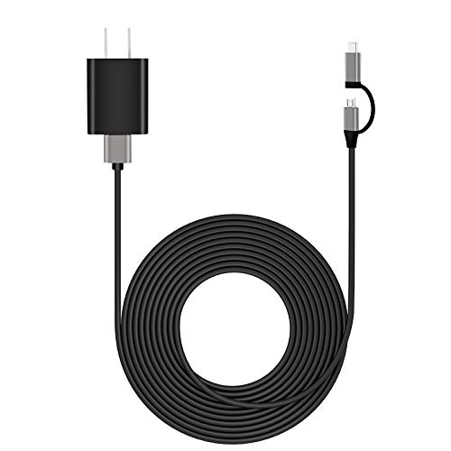 Kindle Fire Fast Charger AC Adapter [UL Listed] with USB C and Micro-USB 2-in-1 Cable 6FT for All Amazon Fire 7 HD 10 8 8 Plus Kids Edition Tablet and Fire TV Stick Kindle E-Reader Oasis