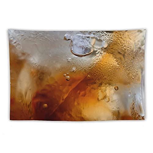 Manta Tapiz Para Colgar En Pared,Cerrar Bebidas Cola cuboshielo refrescante refrescantevidrio Black Cola Sodavidrio cubitoshielo para refrescos, Estera Picnic Decoración Sala Estar,40x60'