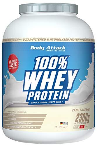 Body Attack 100% Whey Protein, Vanille Cream, 2,3kg Dose Eiweißpulver