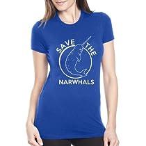 女性用イッカクを救うTシャツおかしいイッカクユニコーンシャツ - S