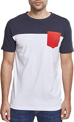 3-Tone Pocket Tee, 5XL, wht/cha/gry, white/navy/fire red