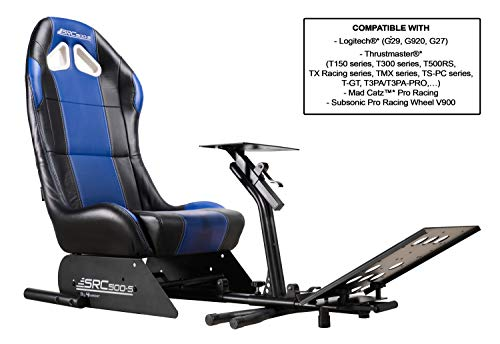 Subsonic Racing Wheel Stand cockpit Seat with Support for Steering Wheel and Pedals Unit, SRC 500 S Simulation Bucket Seat for PS4, PS4 Pro, Xbox One, Xbox One S and PS3