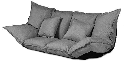 2 Sitzer Futon Schlafsofa im Japanischen Stil Sofa mit Schlaffunktion 100 x 150 cm (Sofa, grau)