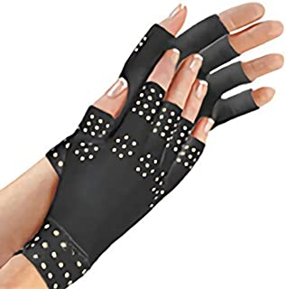 Nrpfell Magnetic Anti Arthritis Health Compression Therapy Gloves Fingerless Gloves Health Gloves——Black