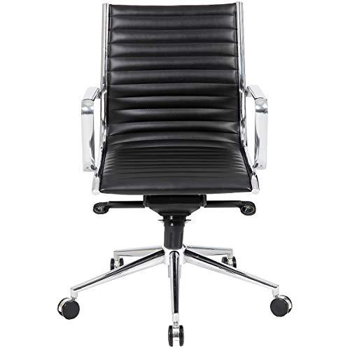 Certeo Bürodrehstuhl Abbey mit Lederbezug, schwarz - Bürostuhl mit Soft Touch Leder - Schreibtischstuhl mit italienischem Design