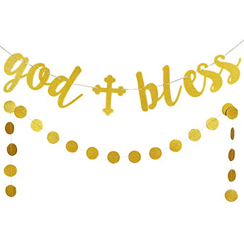 LeeSky Gold Glittery God Bless Banner and Gold Glittery Circle Dots Garland (25pcs Circle dots) -Baptism Banner,Communion Party Banner,Baptism Decorations for Wedding, First Communion