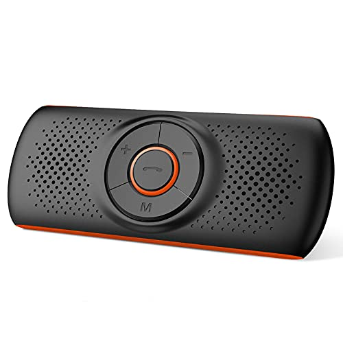 Manos Libres Coche Bluetooth 5.0, NETVIP Altavoz del Audio Inalámbrico Kit Adaptador de Coche con Siri y Google Asistente, Altavoz Fuerte con Subwoofers, Soporta Conexión de 2 Móvil Simultáneamente