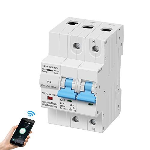 eMylo Disyuntor inteligente de medición WiFi 2P 63A interruptor en miniatura Interruptor de control remoto inalámbrico Recierre automático Protección contra sobrecarga Temporización Retardo Función